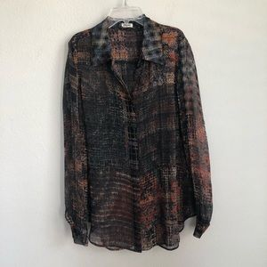 L'AGENCE Button Down Long Sleeve Silk Shirt